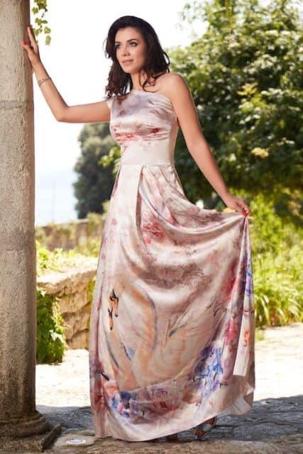 Rochie lungă din mătase naturală cu imprimeu floral și lebede