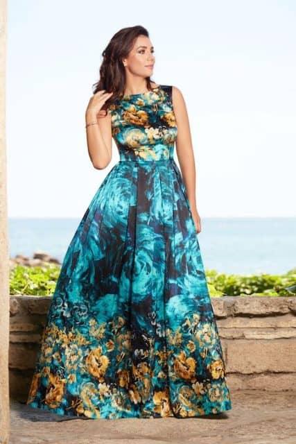 Rochie lungă din mătase naturală turcoaz cu imprimeu floral