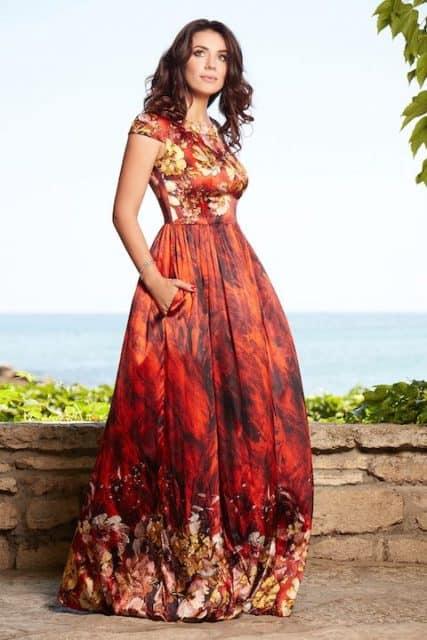 Rochie lungă din mătase naturală roșie cu imprimeu floral