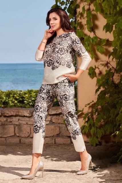 Pantaloni și bluză din organza de mătase naturală