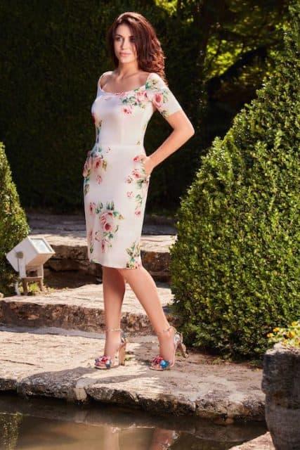 Rochie cambrată din mătase naturală cu imprimeu floral