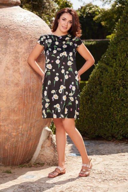 Rochie din mătase naturală cu imprimeu floral