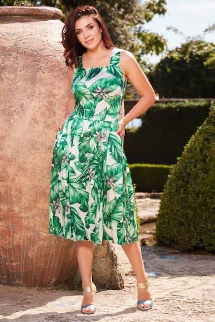 Rochie midi din mătase naturală satinată și imprimată