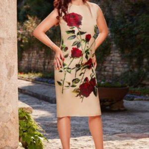 Rochie din organza de mătase naturală cu croi drept