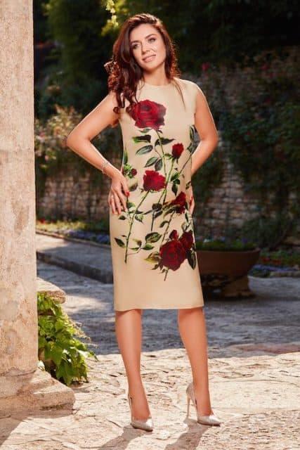 Rochie din organza de mătase naturală imprimată