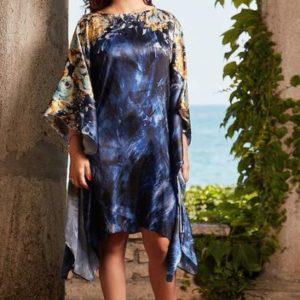 Rochie fluture din mătase naturală albastră imprimată