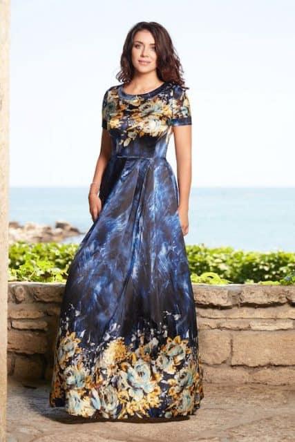 Rochie lungă din mătase albastră cu imprimeu floral auriu