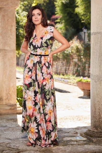 Rochie lungă din mătase naturală cu imprimeu floral