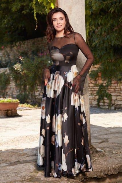 Rochie lungă din mătase naturală imprimată și voal