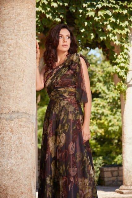 Rochie lungă din voal de mătase naturală cu imprimeu floral