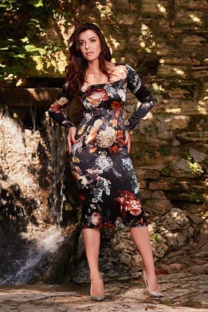 Rochie midi din mătase naturală cu imprimeu floral și mâneci lungi