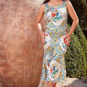 Rochie midi din mătase naturală satinată cu decolteu pătrat