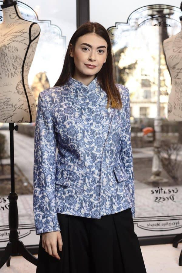 Jachetă din cashmere imprimat