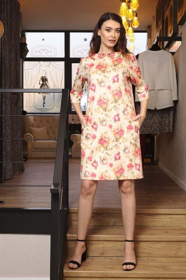 Rochie din cashmere cu imprimeu floral