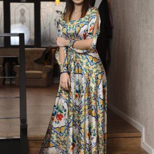 Rochie lungă din mătase natural