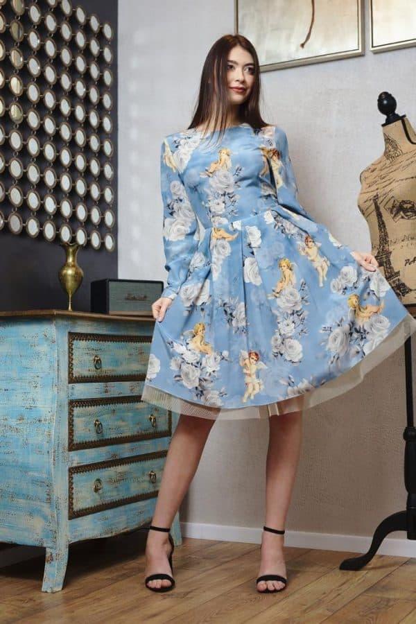 Rochie în cute din mătase naturlă