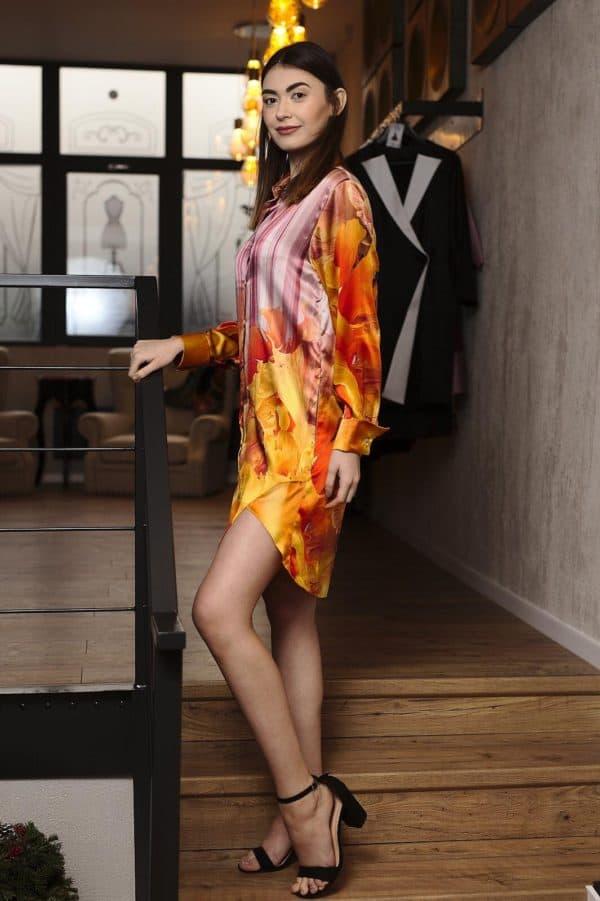 Rochie cămașă din mătase naturală