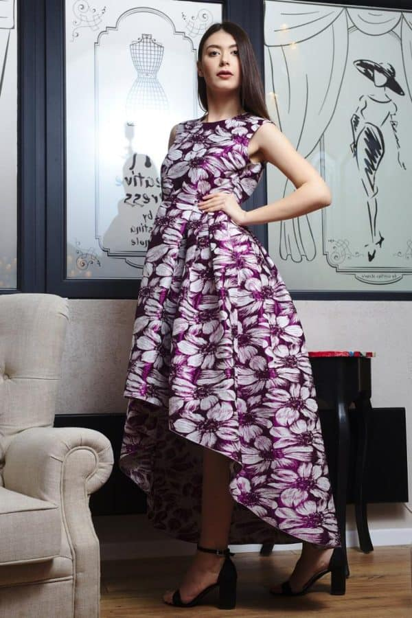 Rochie din brocart cu imprimeu floral