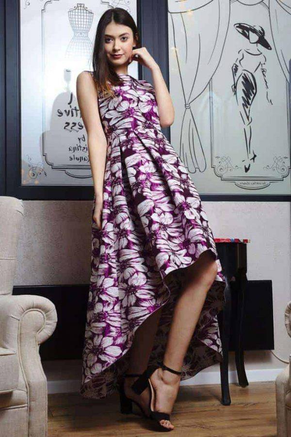 Rochie din brocart cu imprimeu floral II