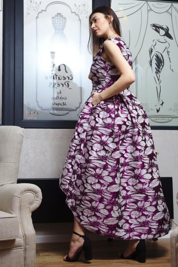 Rochie din brocart cu imprimeu floral III