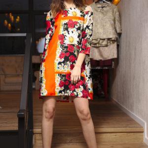 Rochie din mătase naturală imprimată