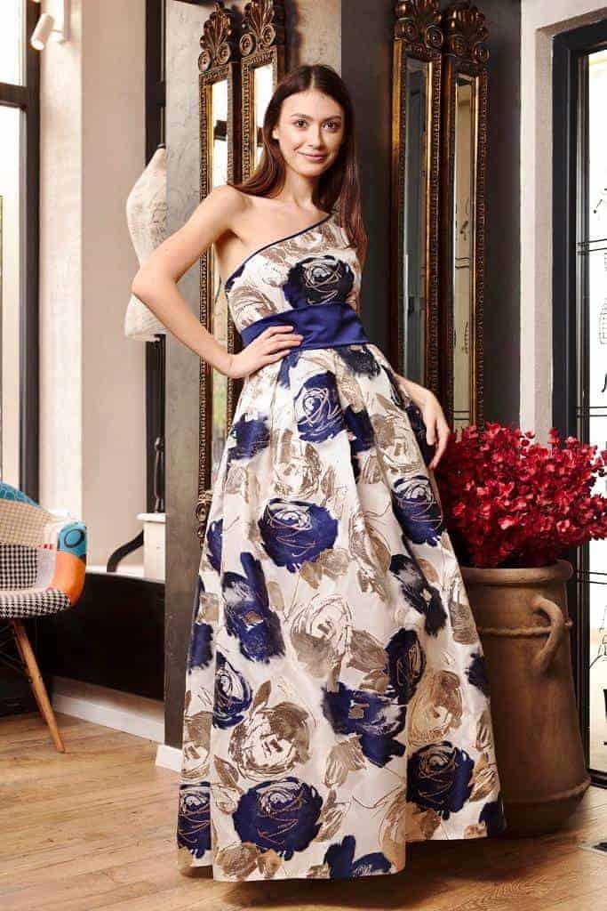 Rochie lungă din organza de mătase naturală I