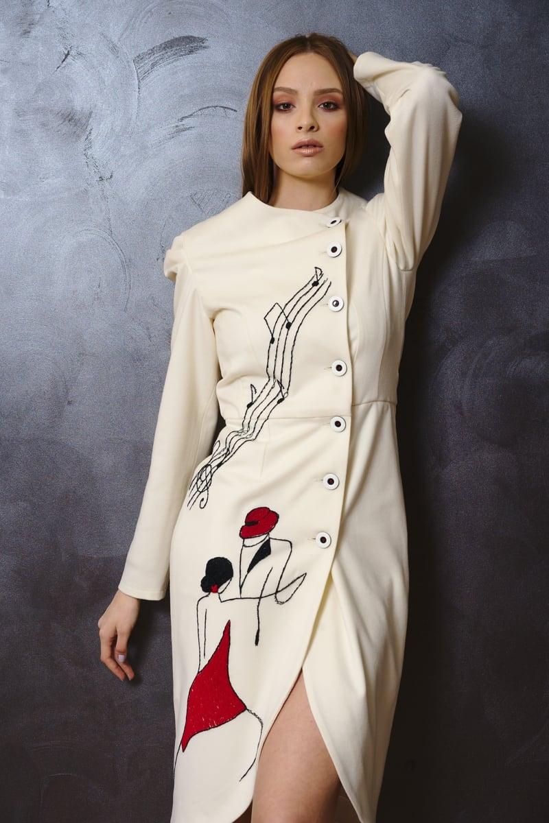 Rochie din voal de lână
