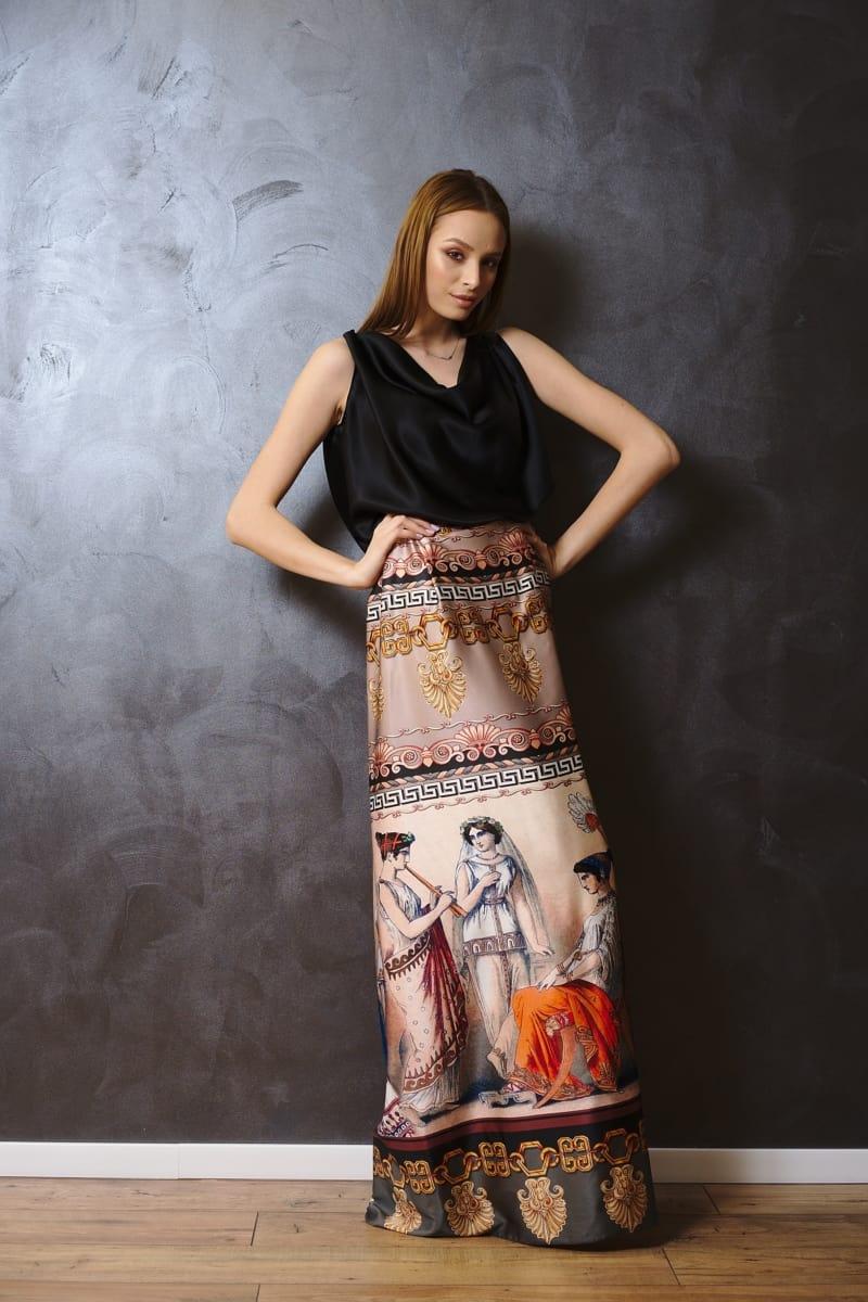 Rochie dreaptă lungă din mătase naturală