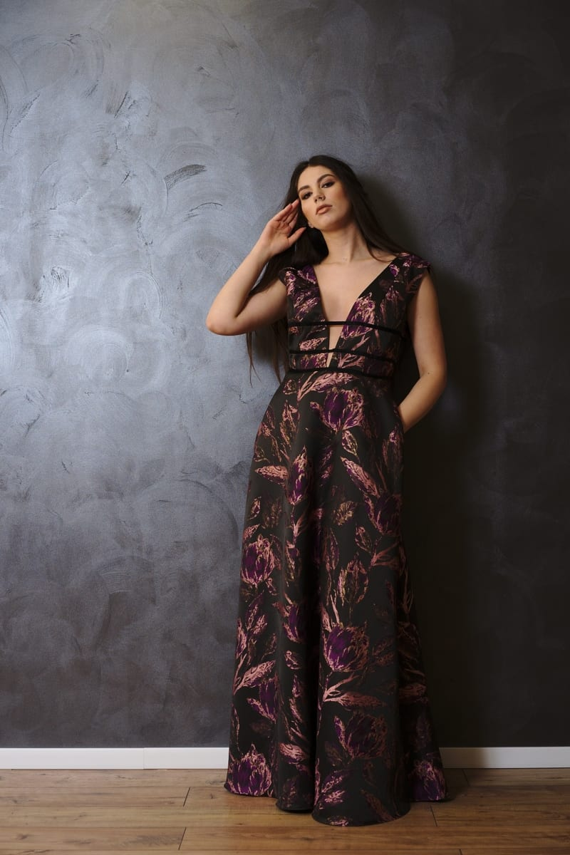 Rochie lungă din brocart imprimat