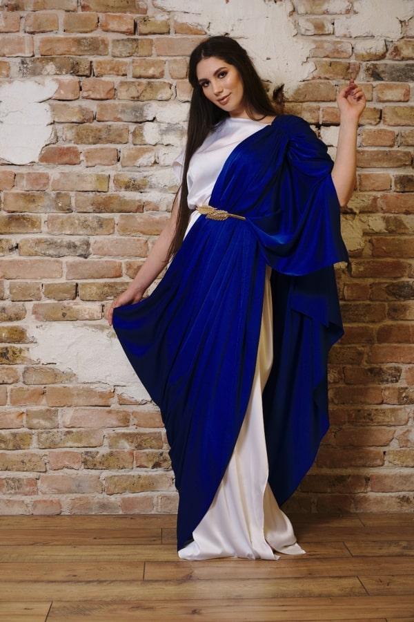 Rochie lungă din mătase bicoloră