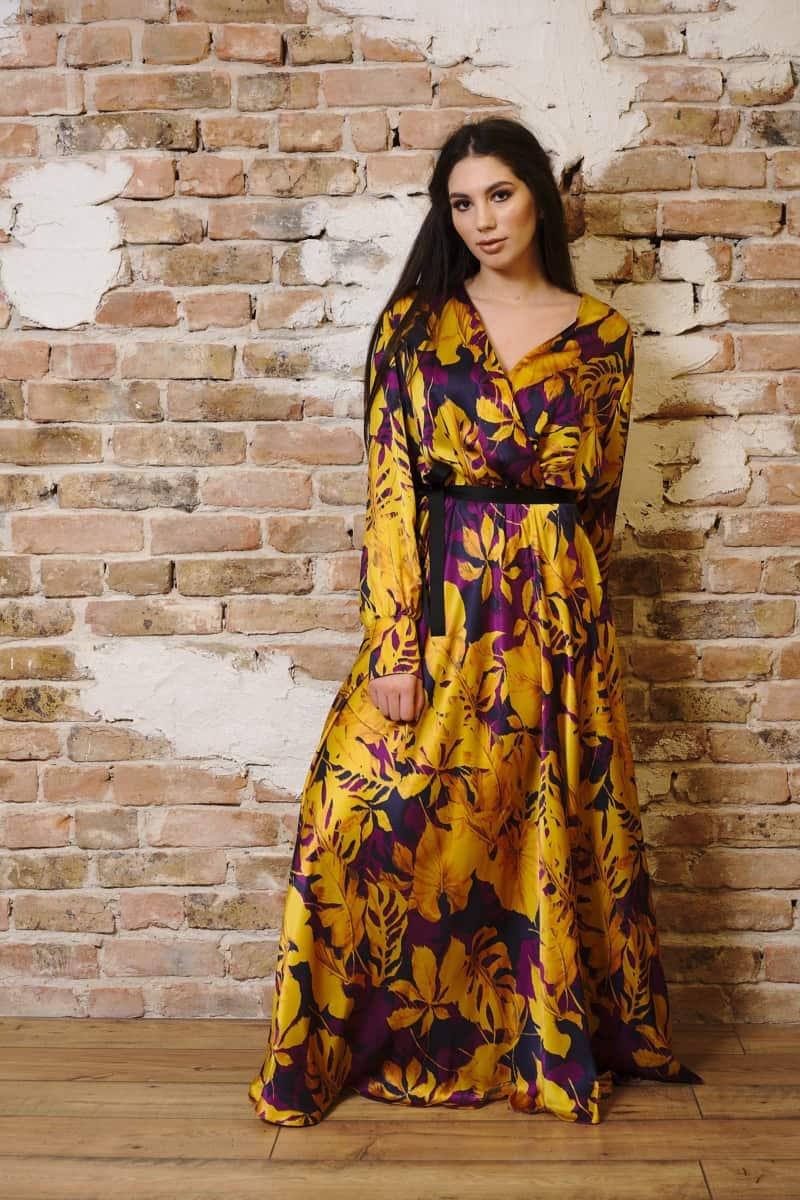 Rochie lungă din mătase naturală