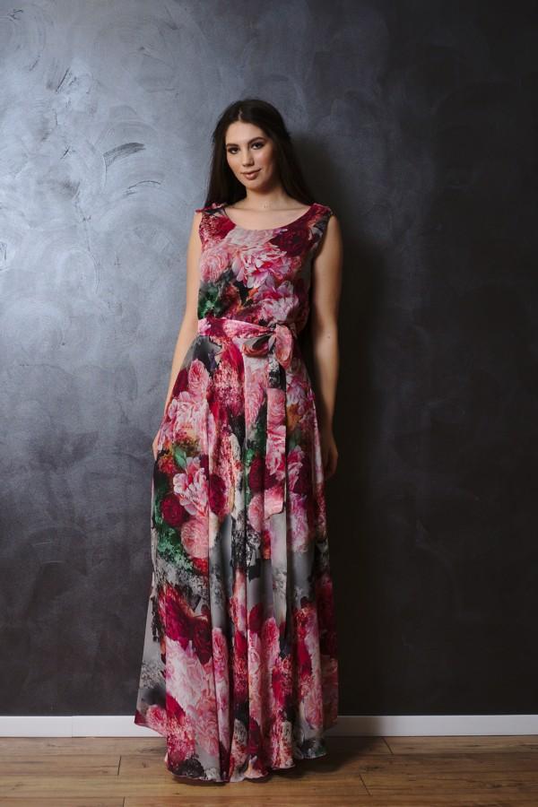 Rochie lungă din voal de mătase
