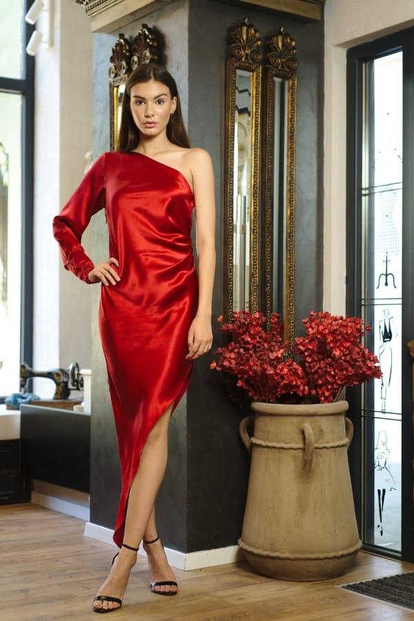 Rochie asimetrică din mătase naturală