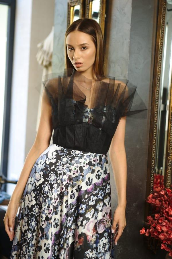 Rochie lungă din mătase naturală și tulle I