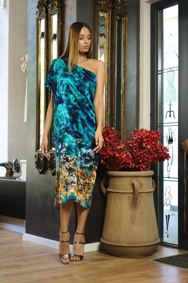Rochie midi din mătase naturală