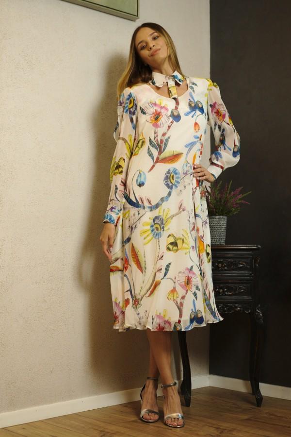 Rochie din voal de mătase imprimat