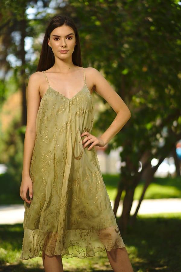Rochie dreaptă din voal de mătase naturală