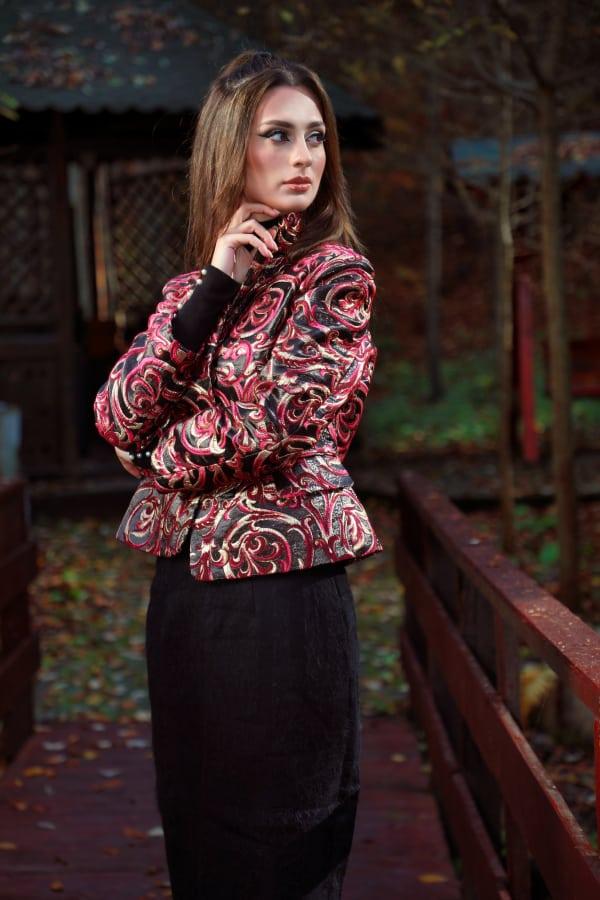 Jachetă din brocart de mătase naturală